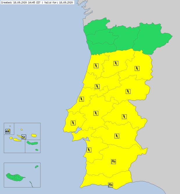 Ostrzeżenia dla Portugalii na piątek (meteoalarm.eu)