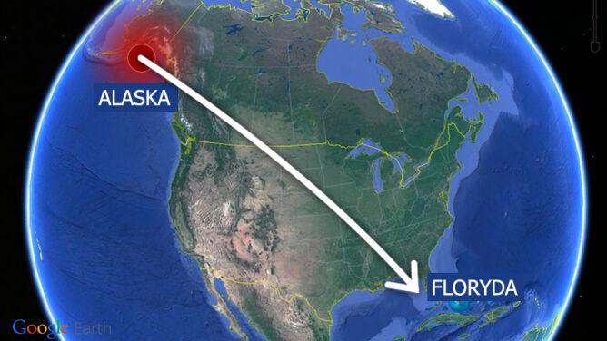 Wstrząs na Alasce, skutki na Florydzie. <br />Odległość? Kilka tysięcy kilometrów