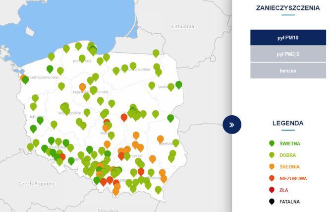 Poziom zanieczyszczenia pyłem PM10 (tvnmeteo.pl za GIOŚ)